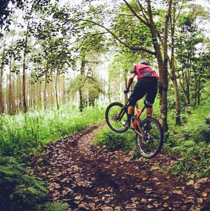 Riding A Mountain Bike Collosus DH9 Polygon